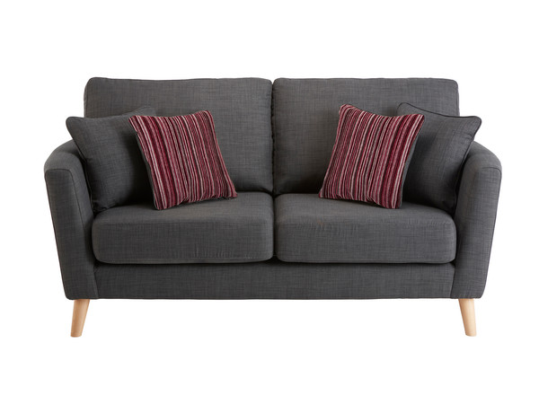 Dover Medium Sofa in Linso Charcoal with Salsa Raspberry Scatters