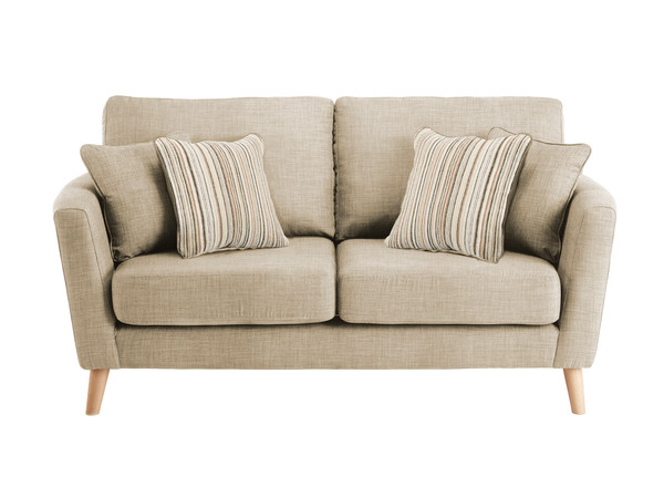 Dover Medium Sofa in Linso Linen with Salsa Beige Scatters