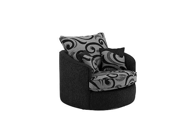 Gina Swivel Love Chair in Black