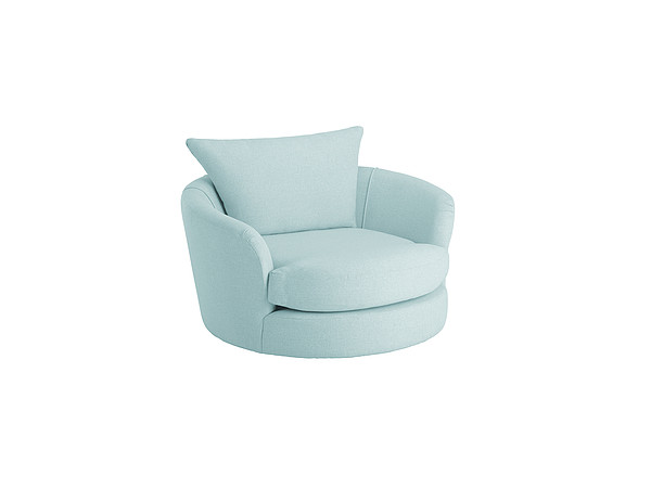 Metro Swivel Cuddle Chair in Graceland Blue