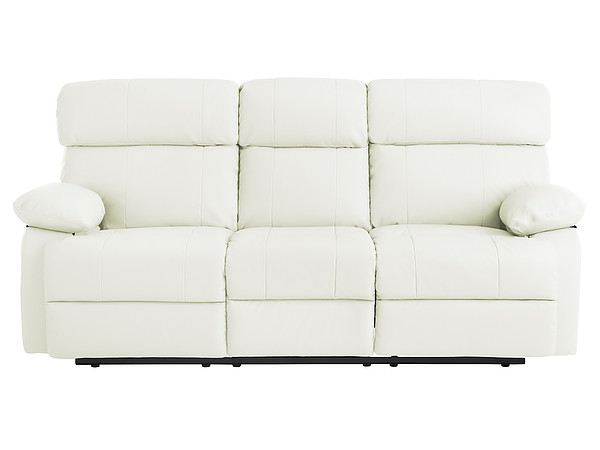 Sheffield Large Sofa with Manual Recliners in Off White Leather