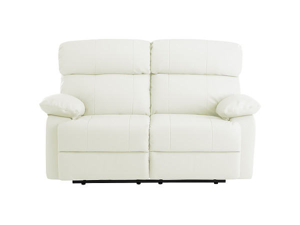 Sheffield Medium Sofa with Manual Recliners in Off White Leather