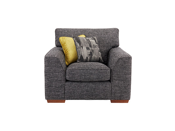Sofas Wembley Armchair in Gino Charcoal with Charcoal and Lime Scatters