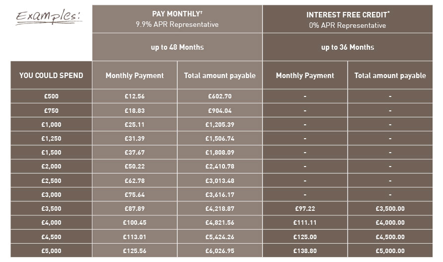 Representative examples of our different finance options